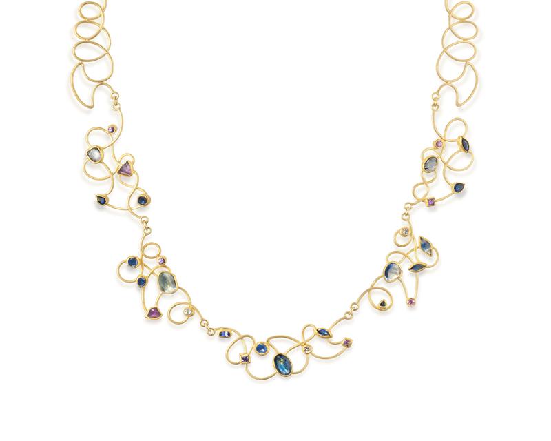 Sapphire Cursive Neckalace