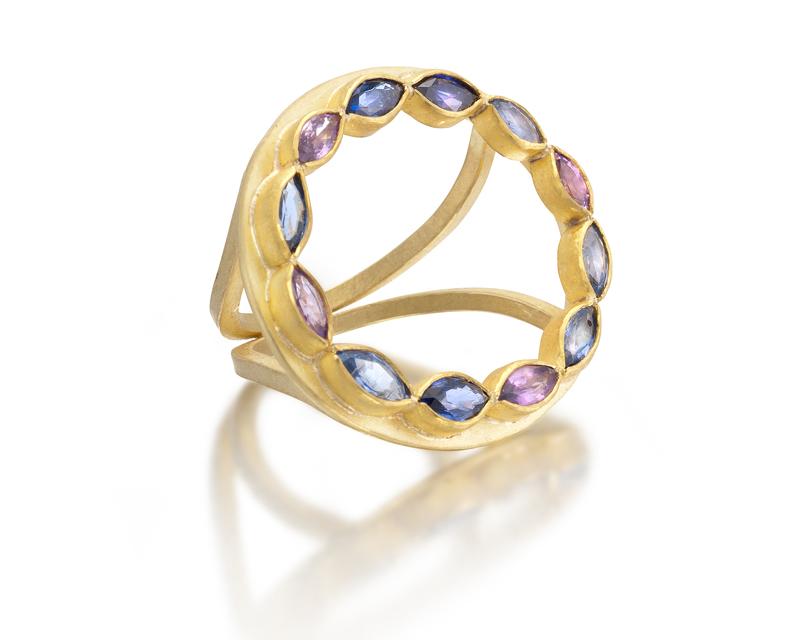 Open Sapphire Navette Ring